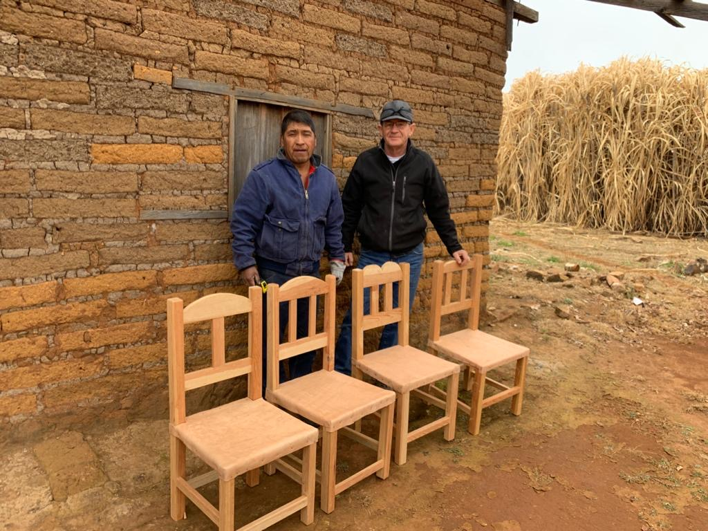 chairs made by cora men in woodworking class