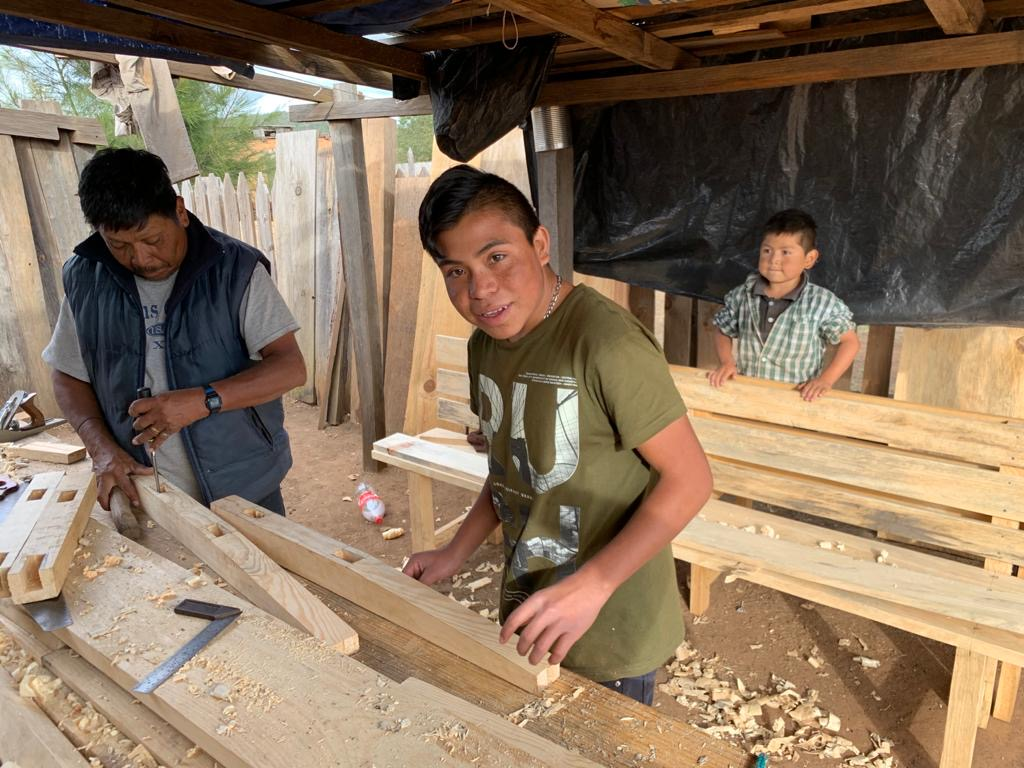 teaching cora people woodworking